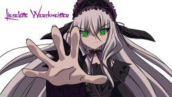 11eyes 1girl absurdres black_dress dress green_eyes grey_hair lisette_vertorre lolita_fashion silver_hair smile solo vector_trace very_long_hair white_background white_hair