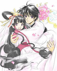 1boy 1girl black_hair bouquet carrying cherry_blossoms clamp couple flower hair_tubes hetero hug japanese_clothes long_hair looking_at_viewer lowres petals princess_carry purple_eyes sakamoto_maaya seiyuu_connection shirou_kamui short_hair sketch suzumura_ken'ichi tomoyo_hime tsubasa_chronicle very_long_hair wedding x_(manga)