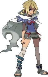 1girl ankle_boots anklet blonde_hair boots breasts brown_eyes chaps cloak edit female full_body grey_legwear higana_(pokemon) highres holding holding_poke_ball jewelry looking_at_viewer medium_breasts nintendo official_art over-kneehighs photoshop poke_ball pokemon pokemon_(game) pokemon_oras short_hair short_ponytail shorts shoulder_pads smile solo standing thighhighs toeless_boots