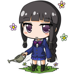 1girl alternate_costume black_hair blazer bow braid carillus chibi flower holding kantai_collection kitakami_(kantai_collection) looking_at_viewer love_live!_school_idol_project plaid plaid_skirt pleated_skirt purple_eyes school_uniform simple_background single_braid skirt solo watering_can white_background