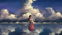 .l.l 1girl akagi_(kantai_collection) akagi_(zhan_jian_shao_nyu) bow_(weapon) brown_eyes brown_hair cloud highres japanese_clothes kantai_collection long_hair reflection side_ponytail skirt sky smile solo star_(sky) starry_sky walking walking_on_water water weapon zhan_jian_shao_nyu