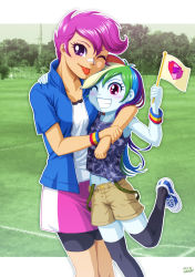 2girls age_difference blue_skin flag hug long_hair multicolored_hair multiple_girls my_little_pony my_little_pony_equestria_girls my_little_pony_friendship_is_magic navel older orange_skin personification purple_eyes purple_hair rainbow_dash rainbow_hair red_eyes scootaloo short_hair thighhighs tongue_out uotapo wink younger