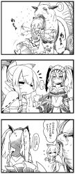 2girls 4koma armor boots carrying chankodining_waka comic dress helmet highres monster monster_hunter mouth_hold multiple_girls pointy_ears ponytail translation_request twintails