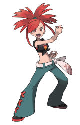 1girl absurdres asuna_(pokemon) belt crop_top denim full_body highres holding holding_poke_ball jeans long_hair midriff official_art open_mouth pants poke_ball pokemon pokemon_(game) pokemon_oras ponytail red_eyes red_hair shoes simple_background sleeveless smile solo sugimori_ken transparent_background yusuke_ohmura