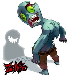artist_name from_behind green_eyes looking_at_viewer looking_back open_mouth shadow sharp_teeth shirtless sido_(slipknot) solo standing white_background zombie