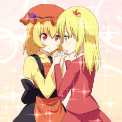 2girls :o aki_minoriko aki_shizuha apron blazer blonde_hair blush cato_(monocatienus) collared_shirt dress eye_contact food food_on_clothes fruit grapes hair_ornament incest interlocked_fingers leaf leaf_hair_ornament long_sleeves looking_at_another maple_leaf mob_cap multiple_girls open_mouth red_eyes sash siblings sisters skirt smile sparkle touhou yellow_eyes yuri