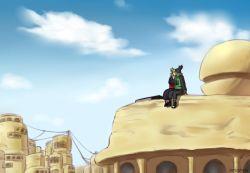 1boy 1girl blue_sky buildings couple jjj_(dbsgh8573) kiss nara_shikamaru naruto naruto_shippuuden scenery sitting temari