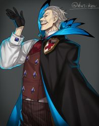 1boy ascot black_gloves cloak facial_hair fate/grand_order fate_(series) feathers gloves highres james_moriarty_(fate/grand_order) male_focus mustache nagiko_(mangalove1111) pants pinstripe_pattern striped twitter_username vertical-striped_pants vertical_stripes vest waistcoat white_hair