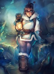 1girl arm_up bangs belt black-framed_eyewear blue_background blue_gloves boots brown_boots brown_hair coat full_body fur-trimmed_coat fur-trimmed_parka fur_trim gloves hair_ornament hairpin highres holding holding_lantern ice lantern looking_at_viewer matilda_vin mei_(overwatch) melting overwatch parka parted_lips rectangular_glasses short_hair sitting solo winter_clothes