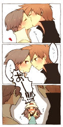 1girl 2boys blue_(pokemon) blush comic kiss multiple_boys nintendo ookido_green ookido_green_(remake) pokemon red_(pokemon) red_(pokemon)_(remake) tagme translated yaoi