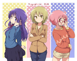 3girls ahoge black_skirt blonde_hair blouse commentary copyright_name english eyebrows_visible_through_hair glasses hinata_yukari ichii_yui long_hair looking_at_viewer medium_hair mel_(melty_pot) multiple_girls nonohara_yuzuko pantyhose pink_background pink_eyes pink_hair purple_background purple_eyes purple_hair red_hair red_ribbon ribbon short_hair shorts skirt sweater twintails yellow_background yellow_eyes yuyushiki
