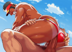 2boys anal ass bara clenched_teeth coach erection facial_hair hand_on_ass hat looking_at_viewer male_focus multiple_boys muscle original outdoors penetration penis sex shorts_tan sky sweat tan tanline teeth testicles yaoi