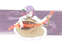 1girl bangs biwa_lute brown_dress chains crotchet_rest cuffs dress eyes_closed floating_hair flower frilled_dress frills hair_flower hair_ornament instrument long_hair long_sleeves lute_(instrument) musical_note parted_bangs purple_hair quaver sharp_sign smile solo staff_(music) tamaki_hakobe touhou treble_clef tsukumo_benben tsukumogami twintails very_long_hair