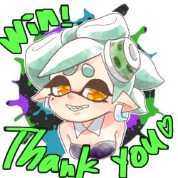2016 domino_mask female hat hotaru_(splatoon) inkling jewelry nintendo pointy_ears short_hair smile solo splatoon tentacle_hair text white_hair zuu-n