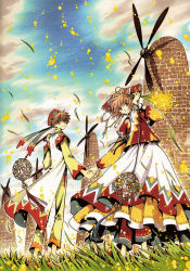1boy 1girl absurdres brown_eyes brown_hair clamp cloud dress grass green_eyes hand_holding highres outdoors sakura_hime short_hair sky tsubasa_chronicle windmill xiaolang