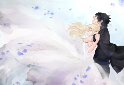 1boy 1girl black_hair blonde_hair couple crying dress final_fantasy final_fantasy_xv gown hetero hug lunafreya_nox_fleuret noctis_lucis_caelum petals ponytail solo soto_(20151217337) tears white_dress