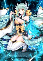 1girl aqua_hair bangs bare_shoulders bikini bikini_under_clothes blush bow breasts cleavage dragon_horns fate/grand_order fate_(series) full_body hair_bow hair_ornament horns japanese_clothes kimono kiyohime_(fate/grand_order) long_hair long_sleeves looking_at_viewer low_twintails medium_breasts obi off_shoulder parted_lips sash smile solo squatting swimsuit tabo thighhighs twintails very_long_hair white_legwear wide_sleeves yellow_bikini yellow_bow yellow_eyes yuzushiro