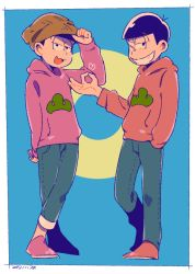 2boys adjusting_clothes adjusting_hat arm_behind_back beanie black_hair blue_background bowl_cut brothers circle dated denim hand_in_pocket hat heart hoodie jeans legs_crossed male_focus money_gesture multiple_boys one_eye_closed osomatsu-kun osomatsu-san osomatsu_(osomatsu-kun) pants siblings simple_background smirk sumio_(smosmo) todomatsu