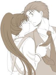 1boy 1girl fire_emblem fire_emblem:_rekka_no_ken hector lowres lyndis_(fire_emblem) monochrome ponytail tagme