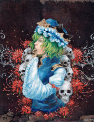 1girl covering_mouth epaulettes flower green_eyes green_hair hat johnalay oil_painting_(medium) rod_of_remorse shiki_eiki short_hair signature skull sleeves_past_wrists solo spider_lily touhou traditional_media vest