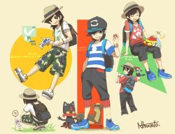 1boy ? backpack bag bangs baseball_cap black black_hair black_hat camouflage camouflage_shorts capri_pants eyes_closed grey_eyes grin grubbin hand_in_pocket hat holding holding_poke_ball keychain litten male_focus male_protagonist_(pokemon_sm) morelull multiple_views natsuno_hamuto pants pikipek poke_ball pokemon pokemon_(creature) pokemon_(game) pokemon_sm red_shirt shirt shoes short_hair shorts signature sitting smile sneakers spoken_question_mark squatting striped striped_shirt swept_bangs t-shirt trilby white_shirt wishiwashi yungoos z-ring