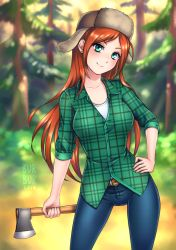 1girl axe breasts burbur collarbone denim forest freckles fur_hat gravity_falls green_eyes hat jeans long_hair looking_at_viewer medium_breasts nature pants red_hair shirt smile solo ushanka weapon wendy_corduroy