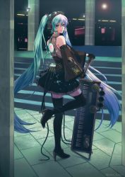 1girl boots detached_sleeves gloves goggles goggles_on_head hatsune_miku headset high_heels instrument kake_(kuromitsu) keyboard_(instrument) long_hair looking_at_viewer microphone necktie skirt solo stairs thigh_boots thighhighs twintails very_long_hair vocaloid