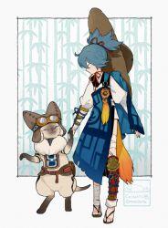 1boy artist_name bandage blue_hair cat crossover felyne goggles goggles_on_head hat japanese_clothes l_hakase monster_hunter sayo_samonji touken_ranbu twitter_username