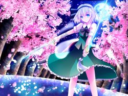 1girl blue_eyes cherry_blossoms contrapposto dual_wielding expressionless full_moon hair_ribbon highres katana konpaku_youmu konpaku_youmu_(ghost) light_particles looking_at_viewer moon night night_sky outdoors petals ribbon sakipsakip short_hair short_sleeves silver_hair skirt skirt_set sky solo sword touhou tree weapon wrist_wraps