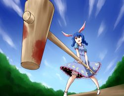 1girl animal_ears blood bloody_weapon bloomers blue_dress blue_hair blue_sky braid bunny_ears dress gradient_background kousei_(public_planet) mallet puffy_short_sleeves puffy_sleeves red_eyes seiran_(touhou) short_sleeves sky solo sunrise_stance touhou twin_braids underwear weapon