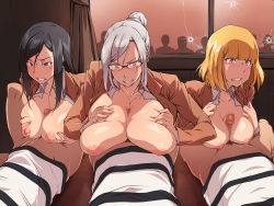 3girls angry areolae black_hair blonde_hair blue_eyes blush bottomless breast_squeeze breasts censored clenched_teeth glasses hair_bun highres huge_breasts indoors kurihara_mari_(prison_school) large_breasts long_hair looking_at_viewer lying midorikawa_hana mosaic_censoring multiple_girls nightmare_express nipples no_bra on_back open_clothes orgy paizuri penis prison_school red_eyes school_uniform shiraki_meiko short_hair tears white_hair window yellow_eyes