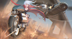 1girl aircraft breasts bridge cleavage dated floating_hair ground_vehicle gun helicopter holding holding_gun holding_weapon large_breasts looking_away motor_vehicle motorcycle original riding_machine shon signature weapon white_hair yellow_eyes