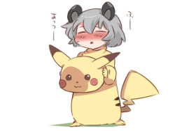 1girl :3 =_= animal_ears blush commentary_request cosplay grey_hair hammer_(sunset_beach) mouse_ears nazrin open_mouth pikachu pikachu_(cosplay) pokemon solo touhou translation_request