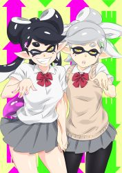 2girls ;d aori_(splatoon) black_hair black_legwear bow green_nails grey_hair grin hair_bow hand_holding highres hotaru_(splatoon) looking_at_viewer mask mole mole_under_eye multiple_girls nail_polish one_eye_closed open_mouth pink_nails pleated_skirt pointy_ears ribbon school_uniform skirt smile splatoon sweater_vest taka-michi teeth tentacle_hair twintails yellow_eyes