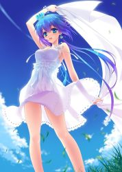 1girl :d aoki_lapis arms_up blue_hair blue_sky bracelet breasts carnelian day dress earrings gradient_hair grass headband highres holding jewelry jpeg_artifacts medium_breasts multicolored_hair open_mouth purple_hair see-through_silhouette silhouette skirt sky sleeveless smile translucent vocaloid wind