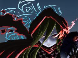 1girl artist_request blonde_hair evileye gloves hood long_hair mask overlord_(maruyama) red_eyes solo vampire