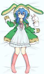 1girl blue_eyes blue_hair date_a_live dress hood knee_highs long_hair puppet rabbit_ears ribbon simple_background tagme yoshino_(date_a_live) yoshinon