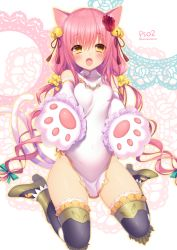 1girl animal_ears bare_shoulders bell black_legwear blonde_hair blush cat_ears cat_tail china_dress chinese_clothes covered_navel detached_sleeves dress flower gloves hair_flower hair_ornament jingle_bell long_hair looking_at_viewer low_twintails multiple_tails paw_gloves phantasy_star phantasy_star_online_2 pink_hair sakura_neko short_dress sitting solo tail thighhighs twintails very_long_hair wariza