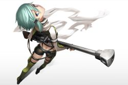 1girl anti-materiel_rifle aqua_eyes aqua_hair ass blue_eyes butt_crack carrying colored_eyelashes fingerless_gloves foreshortening from_above from_behind gloves gradient gradient_background gun hair_ornament hairclip long_sleeves looking_at_viewer looking_back rifle scarf shadow shinon_(sao) short_hair short_shorts shorts sniper_rifle solo sword_art_online tef weapon