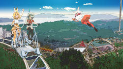 3girls :d ^_^ amusement_park animal_ears arm_up backpack bag bangs bare_shoulders black_hair blonde_hair blue_eyes blunt_bangs blush boots bow bowtie bucket_hat building car cloud commentary commentary_request crested_ibis_(kemono_friends) elbow_gloves eyes_closed flying forest frills gloves ground_vehicle hat hat_feather head_wings kaban kemono_friends lake loafers long_sleeves looking_at_another motor_vehicle multicolored_hair multiple_girls nature open_mouth pantyhose parking_lot pleated_skirt red_gloves red_hair red_legwear roller_coaster ruins rust scenery serval_(kemono_friends) serval_ears serval_print serval_tail shirt shoes short_hair shorts sidelocks skirt sky sleeveless smile tail thighhighs two-tone_hair washu_junkyu white_hair white_shirt yellow_eyes zettai_ryouiki