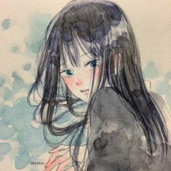 black_hair green_eyes idolmaster idolmaster_cinderella_girls shibuya_rin traditional_media tronc watercolor_(medium)