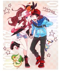 1boy 1girl :p bag baseball_cap blue_eyes boots brown_hair denim denim_shorts full_body green_eyes hand_holding handbag hat high_ponytail highres jacket kogecha leaning_forward long_hair looking_at_viewer one_eye_closed oshawott pokemon pokemon_(game) pokemon_bw pose shirt shorts sleeveless sleeveless_shirt smile snivy star tepig tongue tongue_out touko_(pokemon) touya_(pokemon) v vest white_shirt wristband