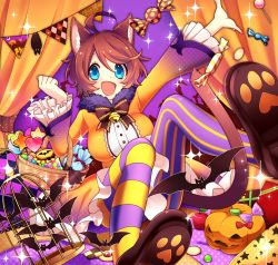 1girl :d ahoge animal_ears apple bangs basket bat bell birdcage blue_eyes blush bow bowtie breasts brown_bow brown_bowtie brown_hair brown_shoes cage candy cat_ears cat_tail clenched_hand cracker curtains dress food frilled_sleeves frills fruit hair_between_eyes halloween heart highres jack-o'-lantern jingle_bell lollipop long_sleeves medium_breasts mismatched_legwear open_mouth orange_dress original outstretched_arm paw_print sakura_chiyo_(konachi000) shoes short_hair sitting smile sparkle striped striped_legwear swept_bangs tail thighhighs vertical-striped_legwear vertical_stripes wrapped_candy