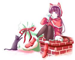 1girl animal_ears animal_hood black_cat black_hair cat cat_ears chimney gokou_ruri herunin highres hood long_hair mittens namesake ore_no_imouto_ga_konna_ni_kawaii_wake_ga_nai purple_eyes sack sitting