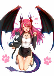1girl ;d bent_knees black_cat black_skirt blush borrowed_character cat collarbone cross cross_necklace dragon_girl dragon_horns dragon_tail dragon_wings fang full_body hair_between_eyes head_fins heart horns jacket jewelry jumping kashiru long_hair looking_at_viewer miniskirt monster_girl necklace one_eye_closed open_clothes open_jacket open_mouth original pencil_skirt pink_hair red_eyes skirt smile solo strapless suit_jacket tail tubetop wings