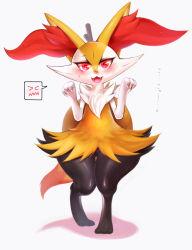 animal_ears blush braixen fox fox_ears fox_tail fur furry hips ibushiro no_humans open_mouth paw_pose pokemon pokemon_(game) pokemon_xy red_eyes smile solo stick tail thick_thighs thighs