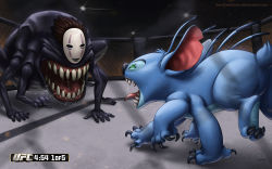 claws crossover disney highres kaonashi lilo_&_stitch mask multiple_arms no_humans open_mouth saliva sam_delatore sen_to_chihiro_no_kamikakushi sharp_teeth stitch_(lilo_&_stitch) teeth tongue tongue_out ultimate_fighting_championship