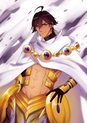 1boy ahoge armor brown_hair cape dark_skin dark_skinned_male earrings fate/prototype fate/prototype:_fragments_of_blue_and_silver fate_(series) gyuunyuu_(060828) highres jewelry male_focus midriff rider_(fate/prototype_fragments) solo yellow_eyes