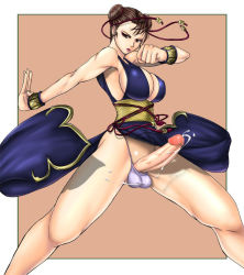 1girl artist_request bare_shoulders bracelet breasts brown_hair capcom chinese_clothes chun-li cleavage cum cumdrip double_bun ejaculation erect_nipples erection full-package_futanari futanari handsfree_ejaculation huge_breasts huge_penis huge_testicles jewelry large_breasts looking_at_viewer panties penis solo spread_legs street_fighter testicles underwear
