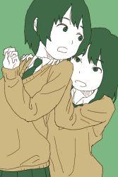 2girls green_background green_eyes green_hair hosoo long_hair multiple_girls school_uniform short_hair simple_background